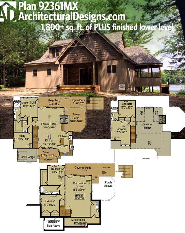 Plan 92361mx Rustic Escape With Optional Lower Level Rustic House Plans Exclusive House Plan Mountain House Plans