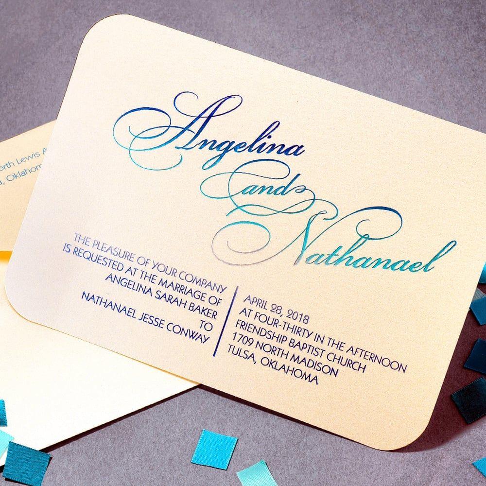 Carlson Craft Pocket Wedding Invitations: #ombrefoil #invitation #weddinginvitation #ombre #foil
