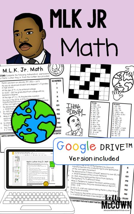 Martin Luther King Jr Math Activities Grades 3 5 Martin Luther