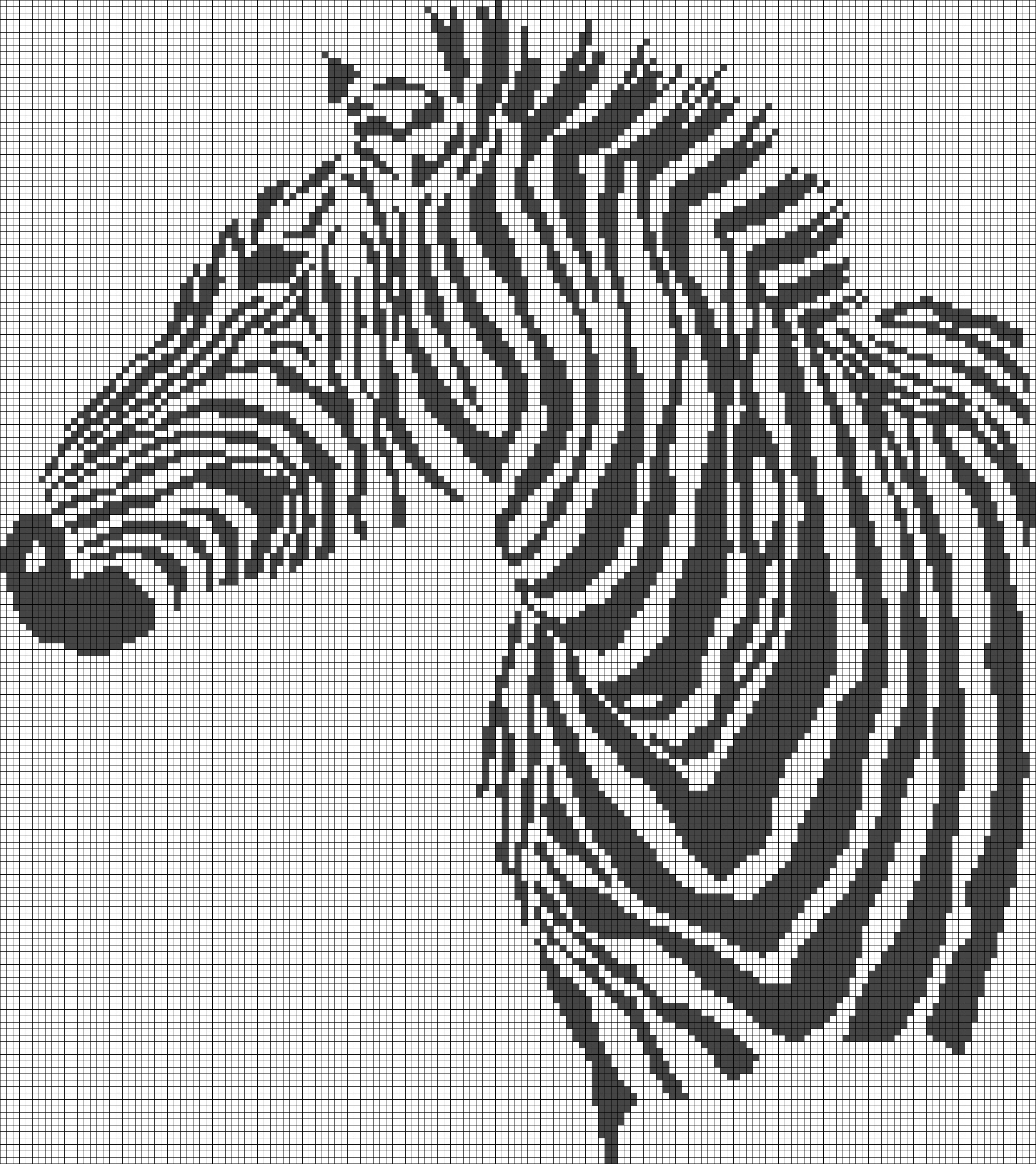Zebra pattern / chart for cross stitch, crochet, knitting, knotting ...