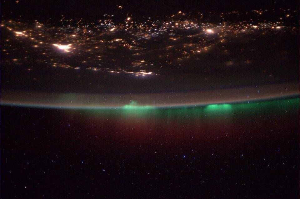 "canadian-space-agency: ""NASA Astronaut Mike Hopkins, currently on board the ISS : ""Colourful night over Canada!"" Photo Credit: Mike Hopkins/NASA """