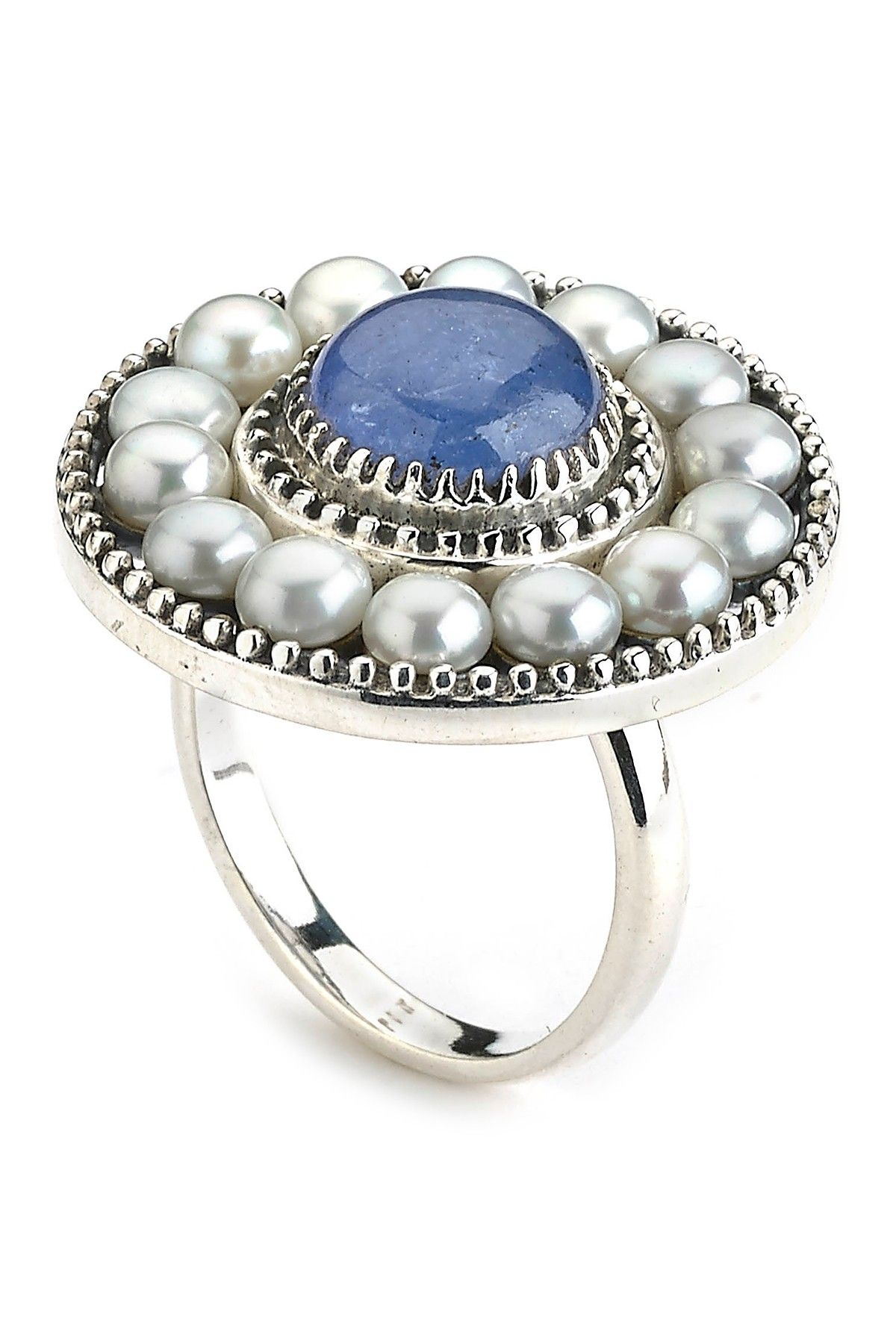 Sterling Silver 4mm Freshwater Pearl Surrounded Tanzanite Ring