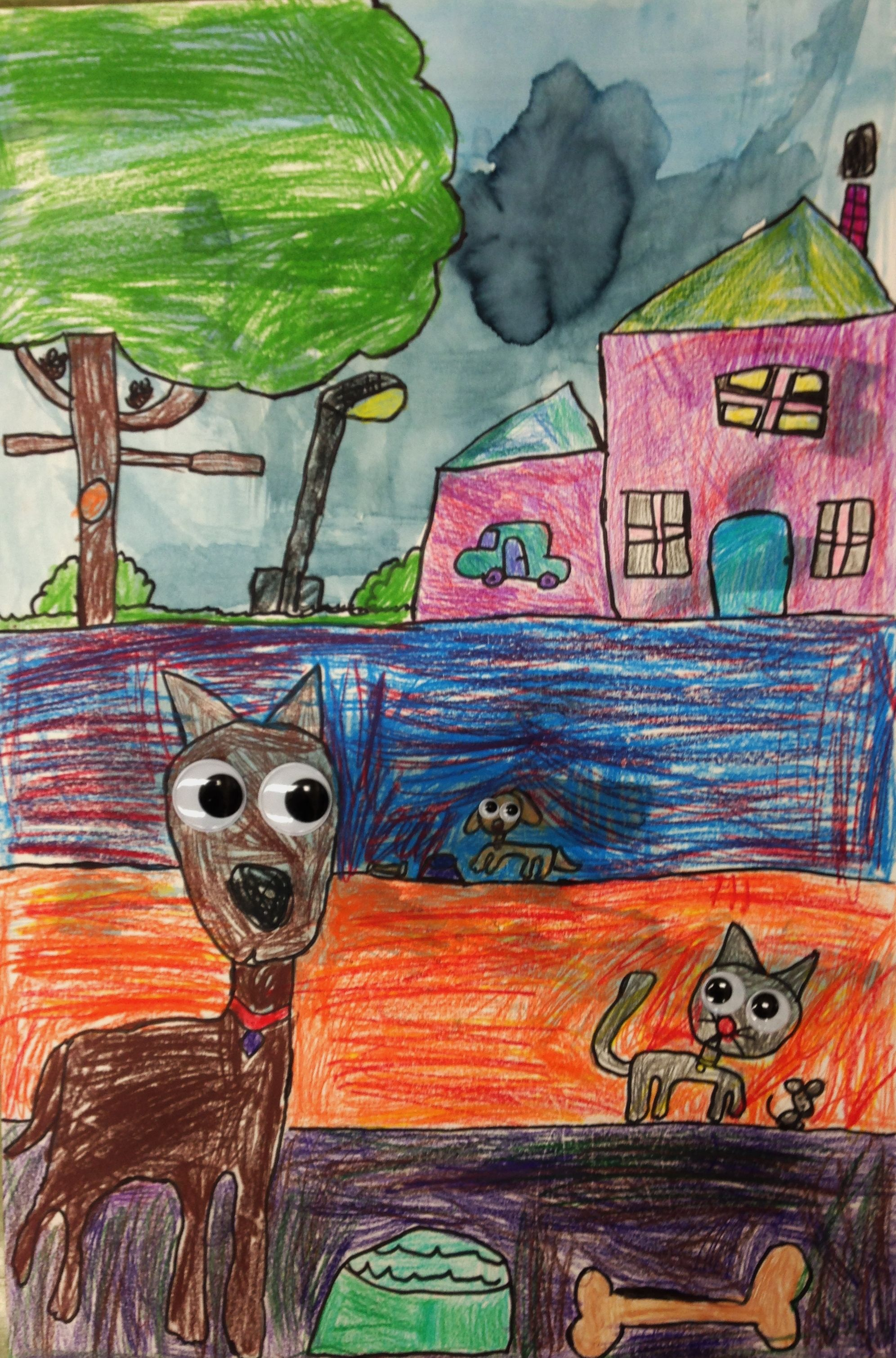 Cat and Dogs at night. Color sticks and watercolor.