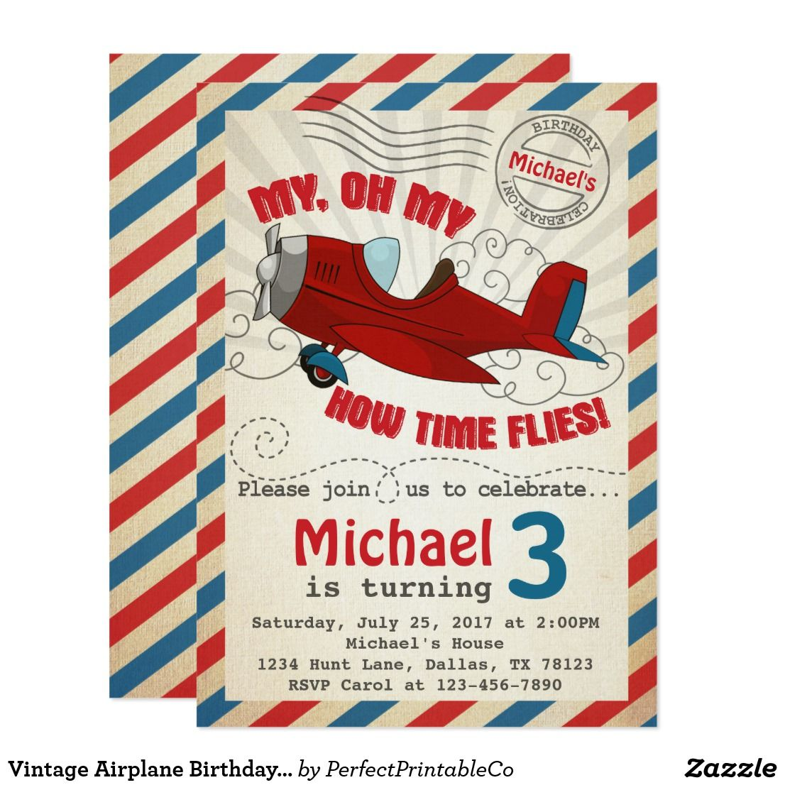 Vintage Airplane Birthday Party Invitation Invite Add a special ...