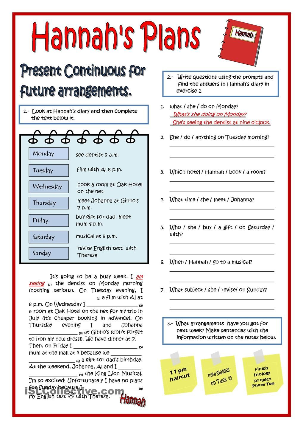 Workbooks spanish present tense practice worksheets : HANNAHS PLANS - PRESENT CONTINUOUS | Для уроков | Pinterest ...