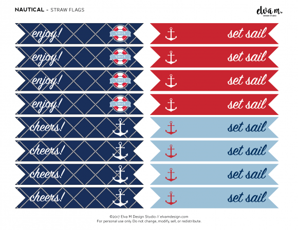 free nautical birthday and baby shower printable straw flags