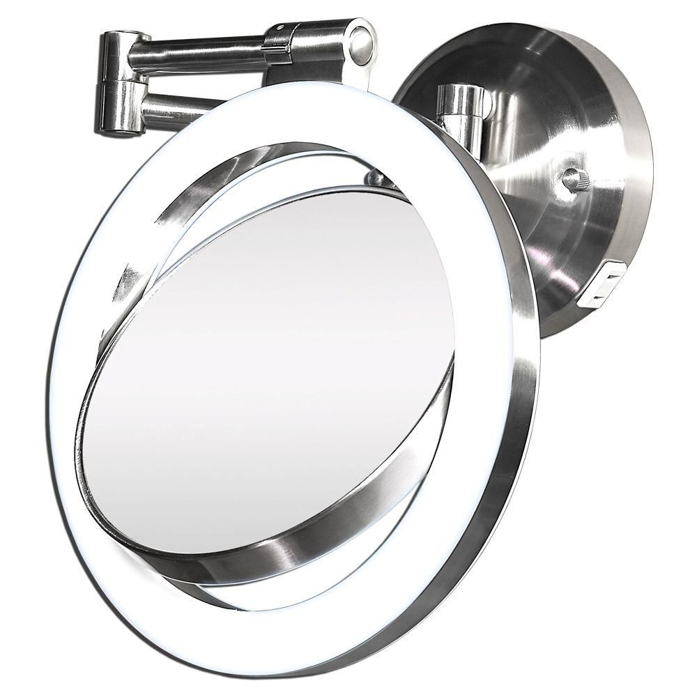 This Wall Mount Bathroom Mirror Is Equipped With A Halo Light For Even Lighting When Lying Makeup It Pivots And Swivels To Just About Any Position