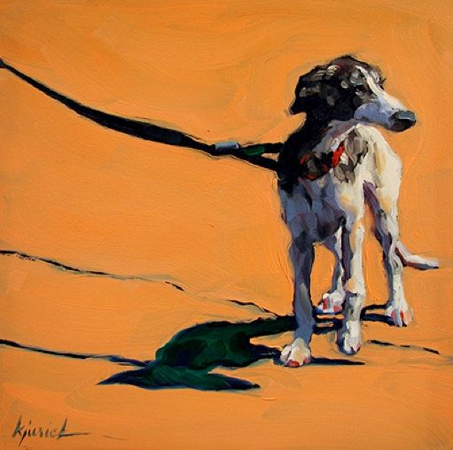 """""""Dog Show"""" by Karin Jurick. Love that so much of the leash is in the composition. Great ground color. #dogart"""