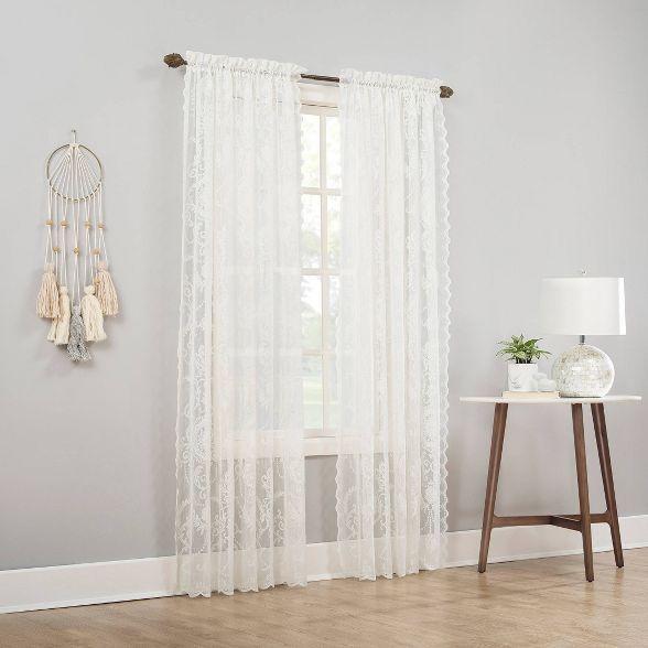 58 X63 Ariella Farmhouse Lace Rod Pocket Sheer Curtain Panel