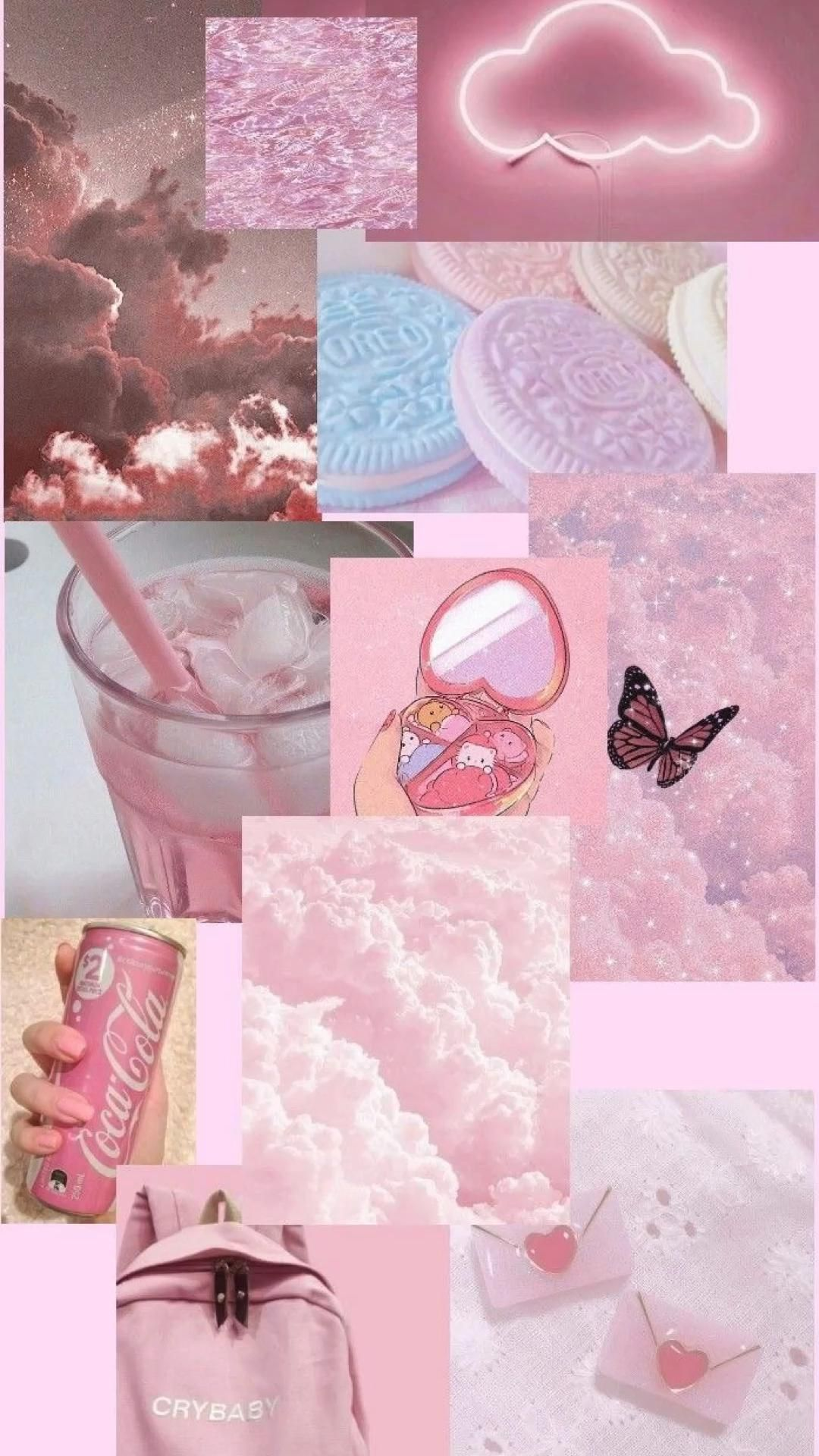 Pink collage aesthetic wallpaper