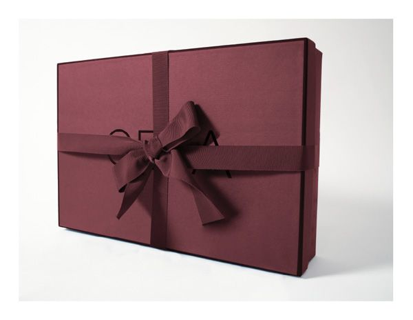 Burgundy & Textured Paper Packaging, only heat stamping used for all branded content.