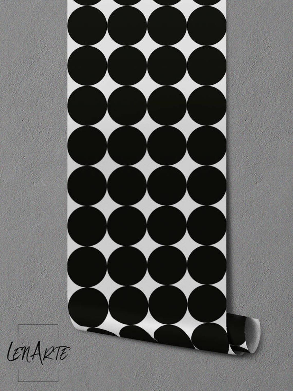 Black Giant Dots Wallpaper Dot Pattern Black and White