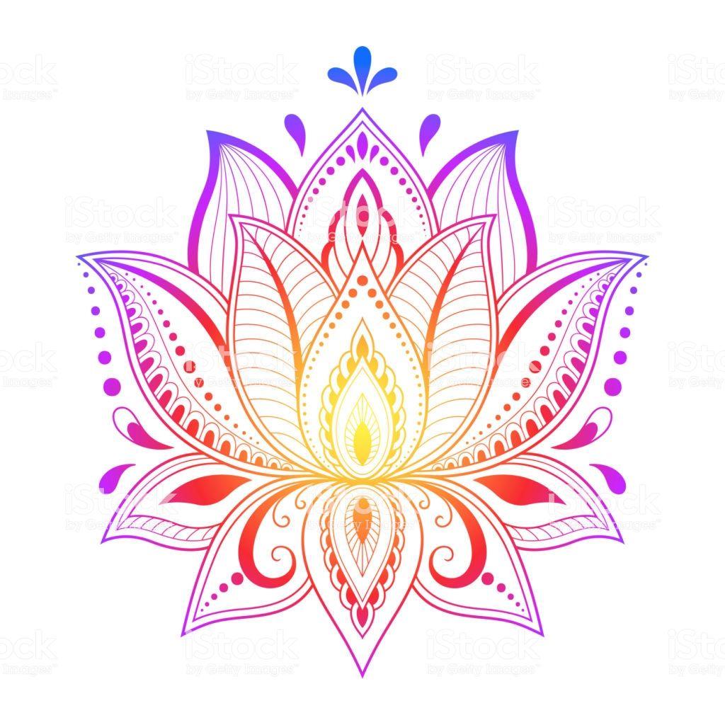 Colorful Floral Pattern For Mehndi And Henna Drawing Hand Draw Lotus Dibujos Henna Arte De La Flor De Loto Dibujos De Loto