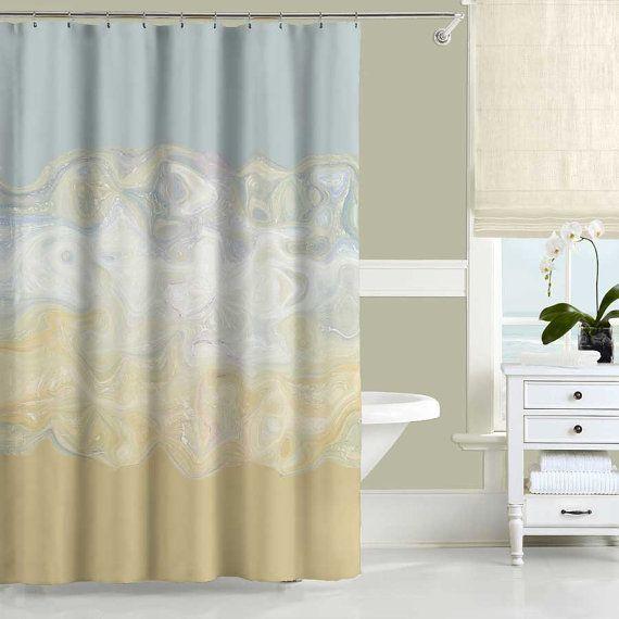 Beach Shower Curtain Gray Beige Yellow Bathroom Curtain With Bath