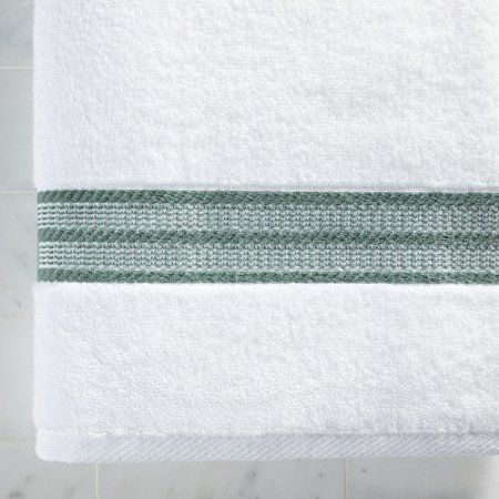 Better Homes Gardens American Made Towel Collection Bath Towel Single White With Green Stripe White Towels Yellow Towels Towel