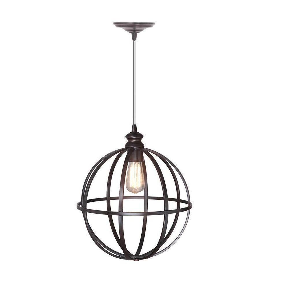Home Decorators Collection Globe 1 Light Bronze Pendant With  Hardwire 1236520280   The Home Depot