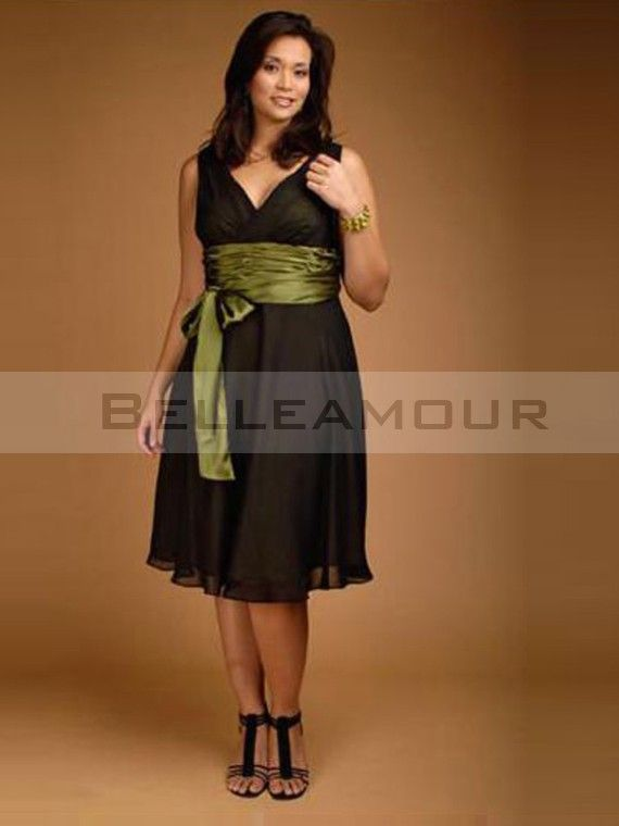 robe de soire grande taille courte bande col v plis mousseline - Robe Habille Pour Mariage Grande Taille