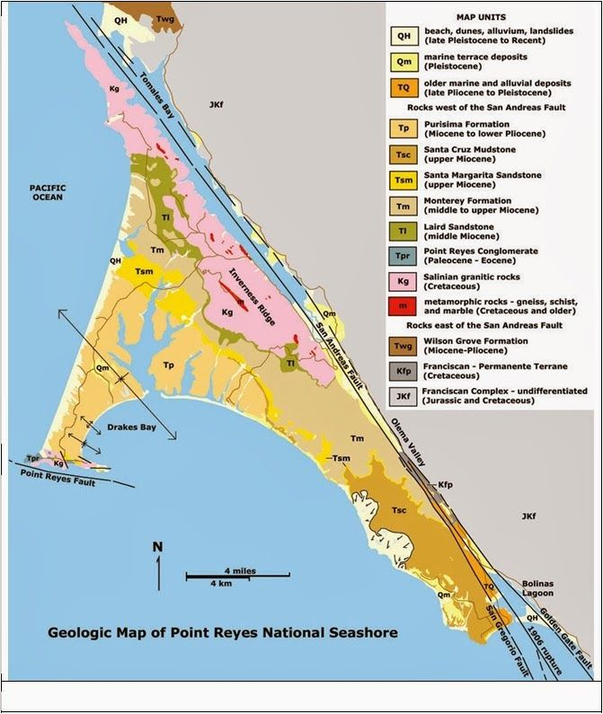 Geologic Map Of The Point Reyes National Seashore California - California geologic map