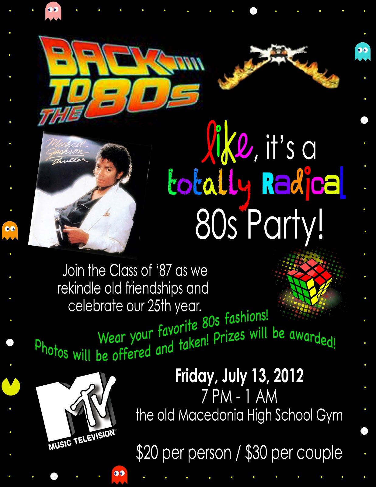 dandeleinss 80s Theme Party Invitation 80s Family Fun Night