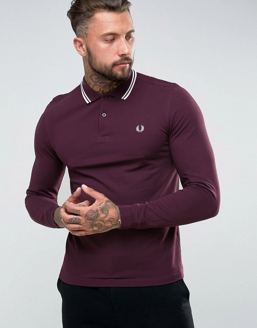 4bebb37fb Click for more details. Worldwide shipping. Fred Perry Slim Fit Long Sleeve  Tipped Polo In Burgundy - Red  Polo shirt by Fred Perry