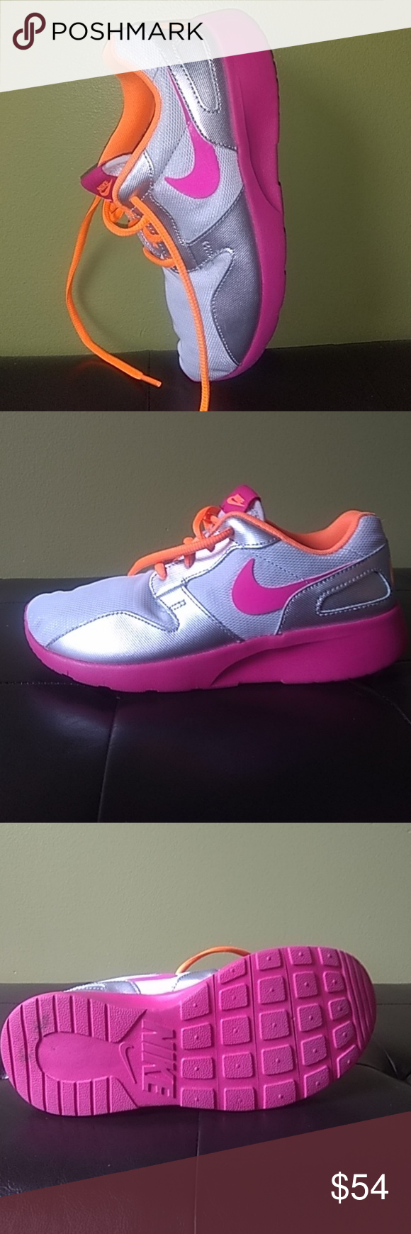 Nike silver sneaker with neon orange and
