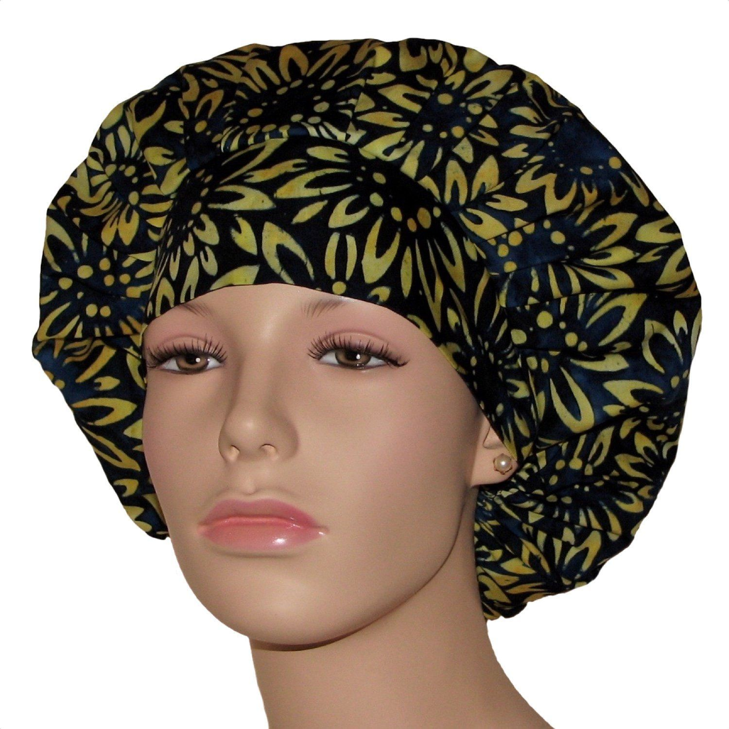 Brown floral bouffant hat w toggle