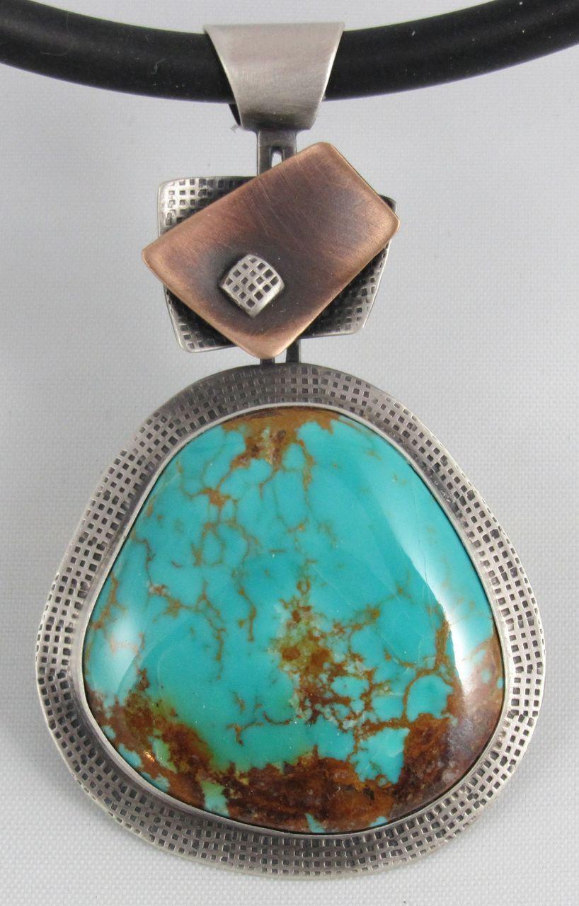 Kings Manassa Turquoise, Sterling Silver, Bronze & Copper Pendant - B Nelson Designs Store
