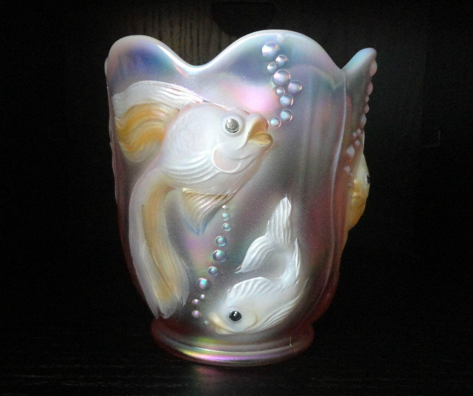 Fenton art glass atlantis fish vase hand painted pink opalescent fenton art glass atlantis fish vase hand painted pink opalescent signed gaskins ebay reviewsmspy