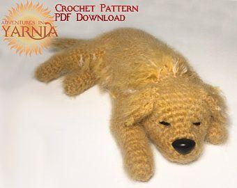 Amigurumi Dog Crochet Patterns : Sleepy golden retriever amigurumi crochet pattern instant pdf