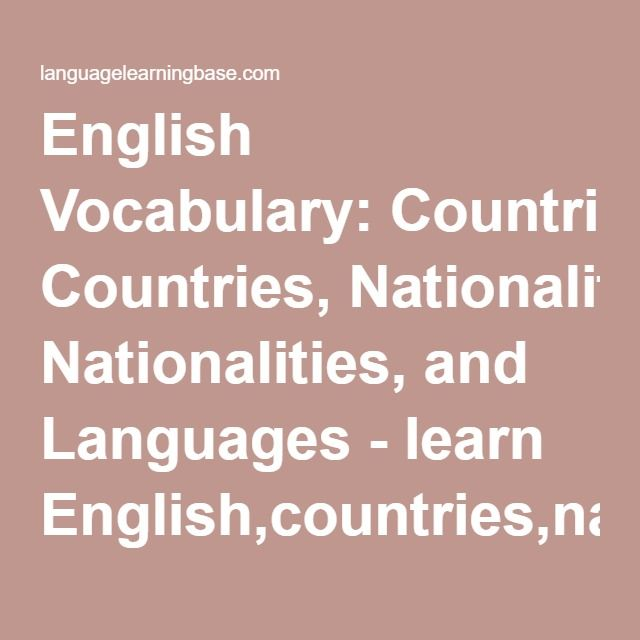 English Vocabulary: Countries, Nationalities, and Languages - learn English,countries,nationalities,languages