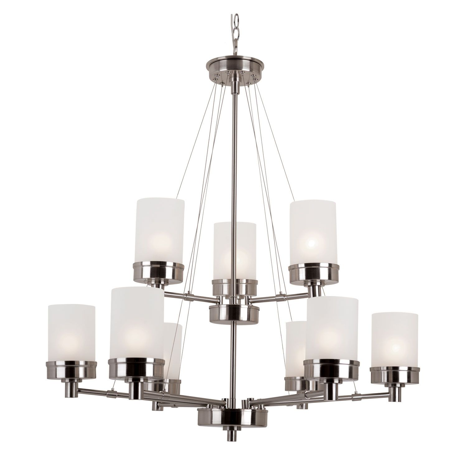 Trans Globe Lighting Brushed Nickel Urban Swag 2 Tier Chandelier With White Frosted Glass On SALE
