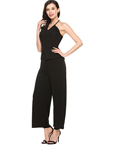 TheMogan Crossover V-Neck Belted Wide Leg Cocktail Jumpsuit Open Back High Waist