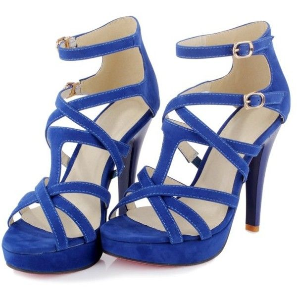 Charming Double Buckles Cross Hollow High Heels Sandals Blue found on Polyvore