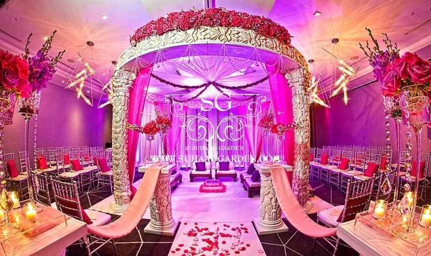 Suhaag garden indian wedding decorator florida wedding decorator suhaag garden indian wedding decorator florida wedding decorator indoor pink mandap w south beach junglespirit Image collections