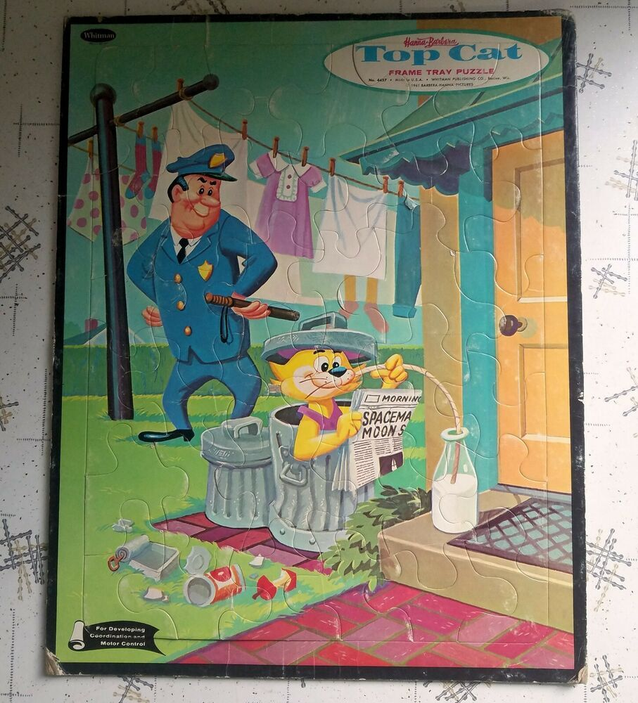 Vintage Hanna Barbera Top Cat Frame Tray Puzzle 1961 Complete Cardboard Whitman Whitman In 2020 Cat Frame Cat Top Jigsaw Puzzles