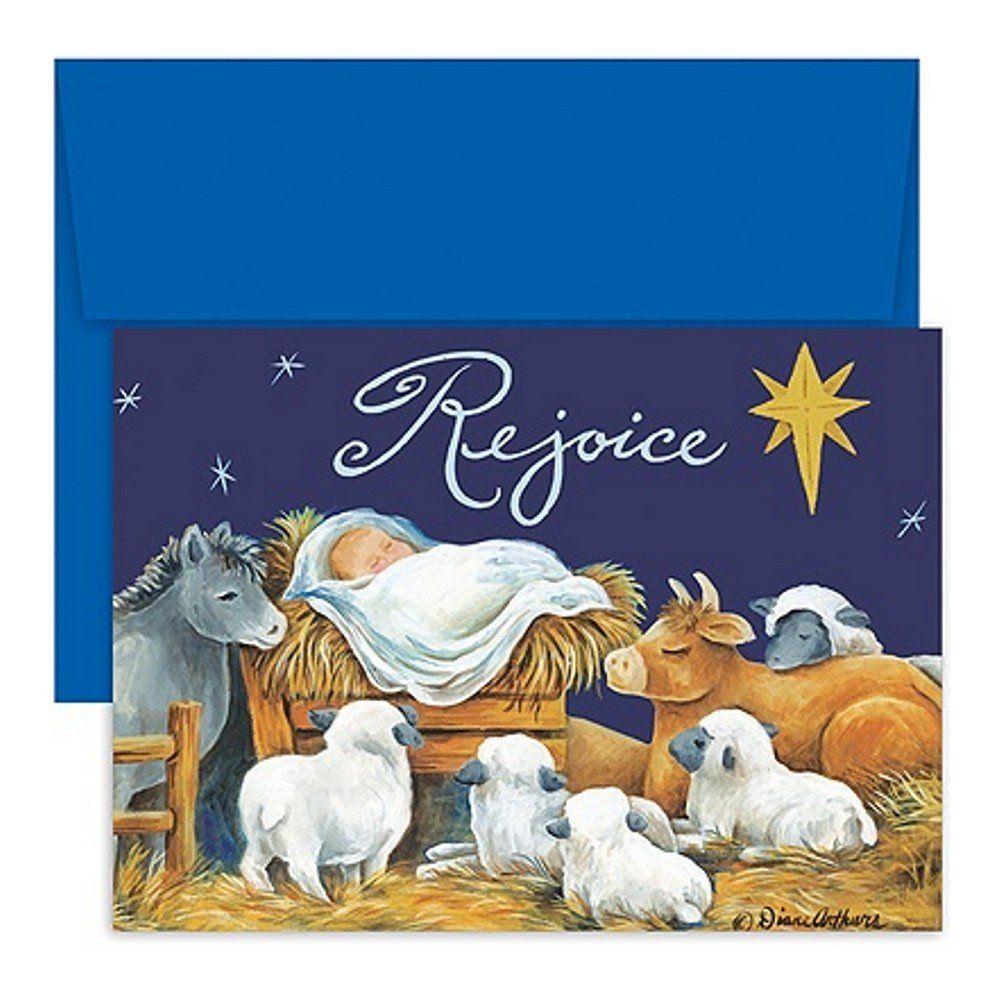 Rejoice Baby Jesus Holiday Cards with Blue Envelopes – Sophie\'s ...