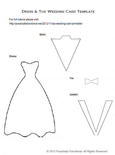 DIY Wedding Card Dress Tux Trifold Printable Diy wedding