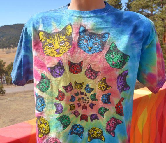 3adf24c4 90s t-shirt vintage tie dye CATS hippie spiral rainbow tee Medium ...