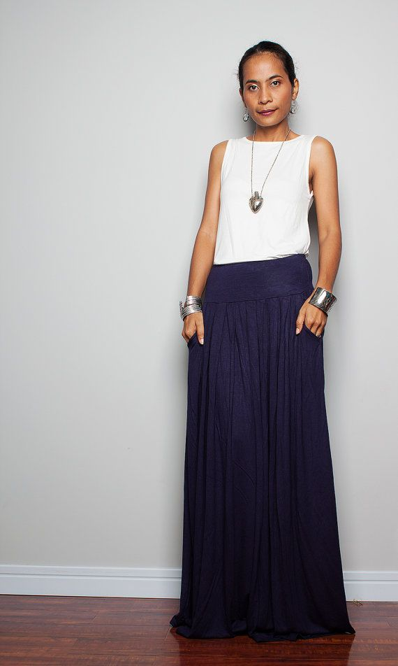Maxi Skirt - Long Navy Blue Skirt : Autumn Thrills Collection ...