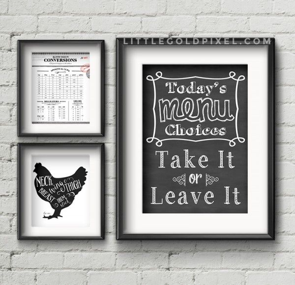 20 kitchen free printables • wall art roundup
