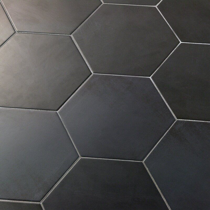 Langston 10 X 11 Porcelain Concrete Look Wall Floor Tile In 2020 Tile Floor Flooring Black Hexagon Tile
