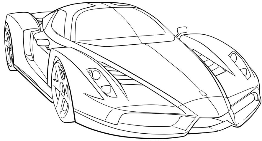 Ferrari Sport Car High Speed Coloring Page