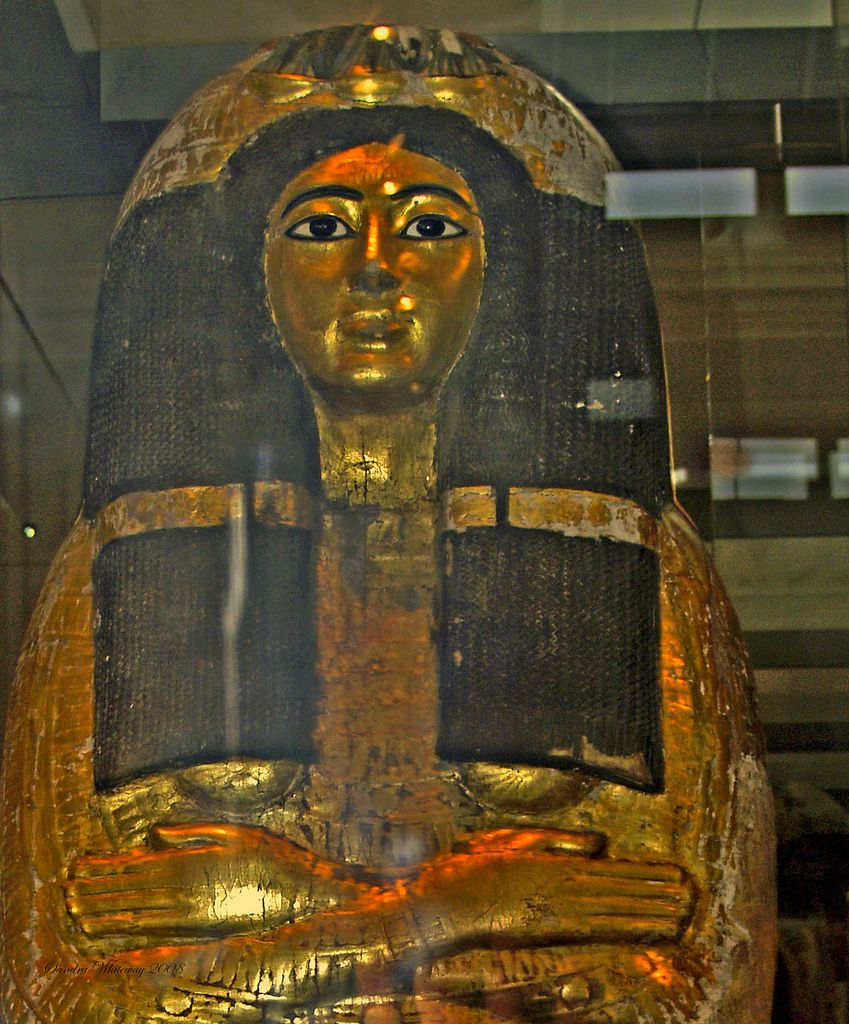 https://flic.kr/p/4ogQvr | Henutmehyt, British Museum, London England | A Theban priestess - From the tomb of Henutmehyt, Thebes, Egypt 19th Dynasty,around 1250 BC The inner coffin of Henutmehyt is entirely covered in gold leaf, apart from her wig, eyes and eye brows.  This lavish useof gold, and the high quality of the rest of her funerary equipment indicates that Henutmehyt was a wealthy woman.  As is usual with coffins of this date, her arms are crossed over her chest. Her hands are…