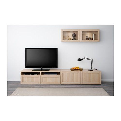 BESTÅ TV storage combination/glass doors - Hanviken/Sindvik white stained oak eff clear glass, drawer runner, soft-closing - IKEA
