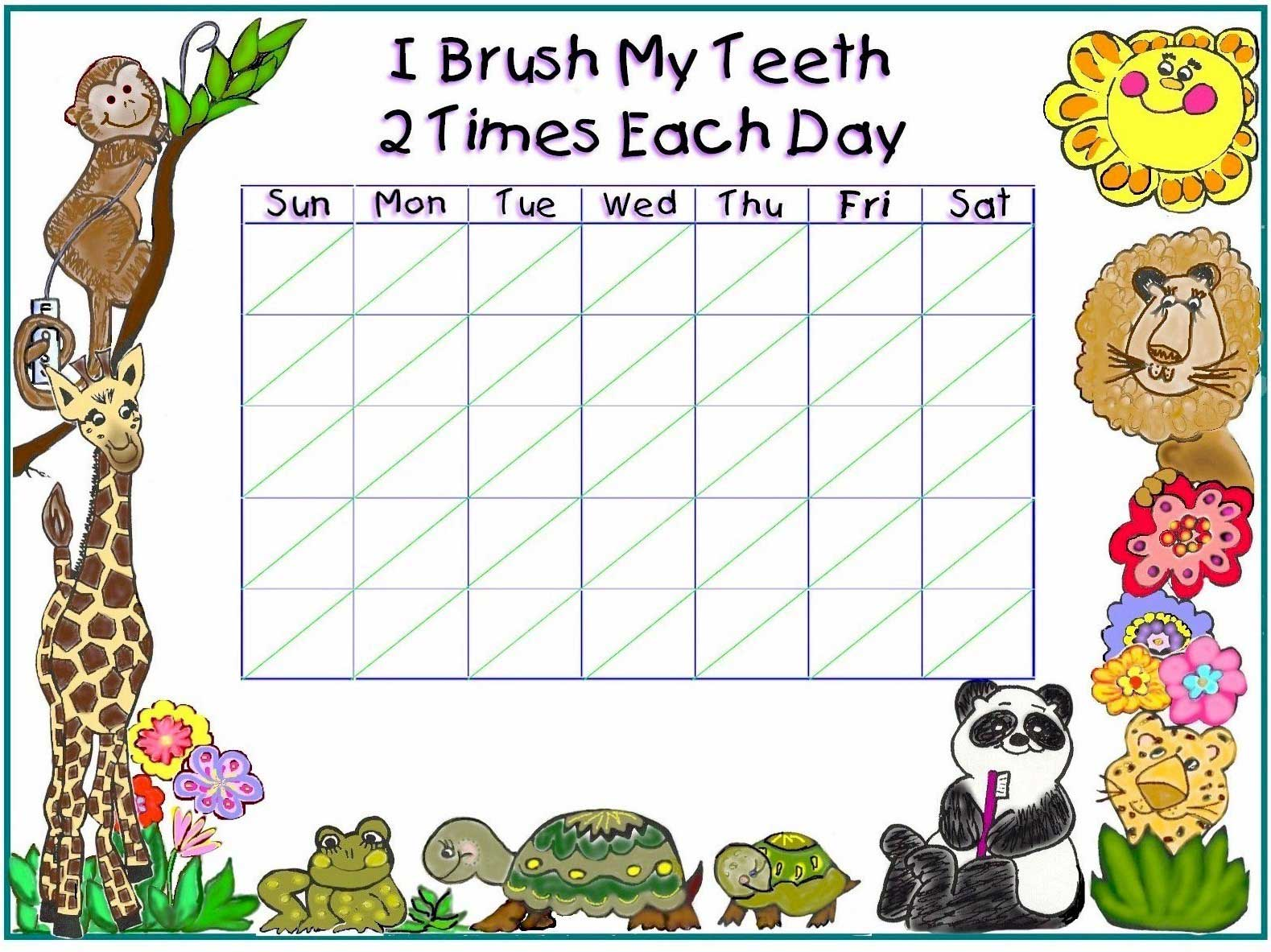Free Tooth Brushing Chart Free Printable Tooth Brushing