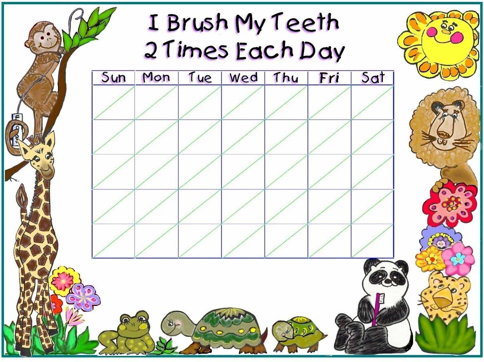 Free Tooth Brushing Chart Free Printable Tooth Brushing