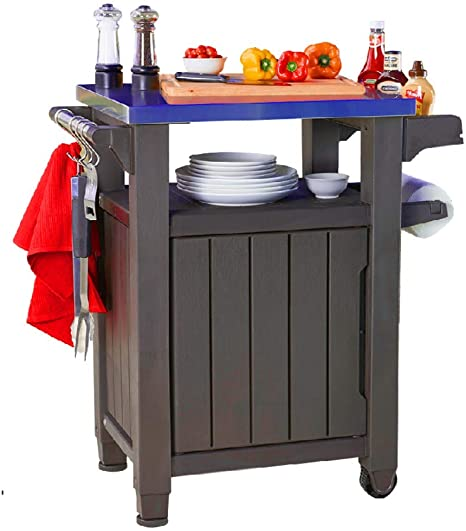 Outdoor Bbq Prep Table Stainless Steel Top Grill Prep Mobile Cooking Station Indoor Outdoor St In 2020 Outdoor Cooking Table Outdoor Storage Cabinet Backyard Furniture