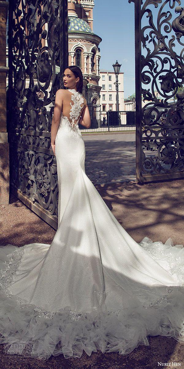 nurit hen 2016 bridal sleeveless sweetheart neckline illusion jewel lace sheath fully beaded wedding dress sexy (03) mv