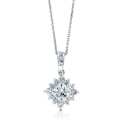 Sterling Silver 925 Princess Cubic Zirconia CZ Solitaire Necklace BERRICLE. $42.99. Stone Type : Cubic Zirconia; Metal : Stamped 925; Stone Total Weight (ct.tw) : 1.84; Gender : Women. Save 60% Off!
