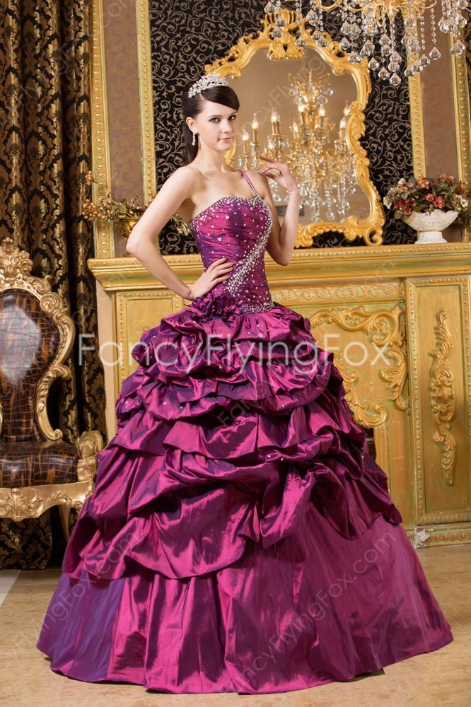 Mystic One Shoulder Sleeveless Ball Gown Grape Quinceanera Dresses